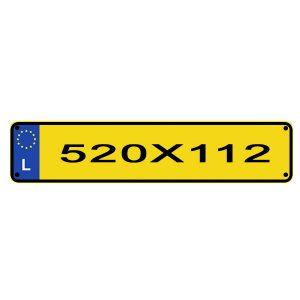 reproduction plaque d'immatriculation Luxembourgeoise 520 cm sur 110 écriture noir sur fond jaune